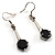 Jet Black Round Cut CZ Drop Earrings (Silver Tone) - view 2
