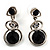 Black Beaded Drop Earrings (Silver Tone)