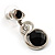Black Beaded Drop Earrings (Silver Tone) - view 2