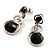 Black Beaded Drop Earrings (Silver Tone) - view 3