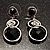 Black Beaded Drop Earrings (Silver Tone) - view 6