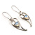 Contemporary Crystal Leaf Drop Earrings (Silver Tone) - view 3