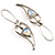 Contemporary Crystal Leaf Drop Earrings (Silver Tone) - view 7