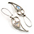 Contemporary Crystal Leaf Drop Earrings (Silver Tone) - view 6