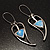 Contemporary Crystal Leaf Drop Earrings (Silver Tone) - view 2