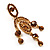 Stunning Amber Coloured Swarovski Crystal Chandelier Earrings (Gold Tone) - view 3