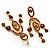 Stunning Amber Coloured Swarovski Crystal Chandelier Earrings (Gold Tone) - view 7