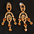 Stunning Amber Coloured Swarovski Crystal Chandelier Earrings (Gold Tone) - view 2