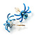 Tiny Sky Blue Crystal Spider Stud Earrings - view 3