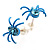 Tiny Sky Blue Crystal Spider Stud Earrings - view 4