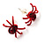 Tiny Red Crystal Spider Stud Earrings