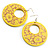 Bright Yellow Large Floral Wood Drop Hoop Earrings