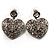 Silver Tone Filigree Crystal Heart Drop Earrings