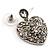 Silver Tone Filigree Crystal Heart Drop Earrings - view 6