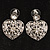 Silver Tone Filigree Crystal Heart Drop Earrings - view 3
