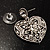 Silver Tone Filigree Crystal Heart Drop Earrings - view 5