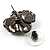 Black Tone Clear Crystal Daisy Stud Earrings - view 4