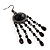 Black Bead Chandelier Earrings (Black Tone) - view 2