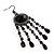 Black Bead Chandelier Earrings (Black Tone) - view 2