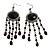 Black Bead Chandelier Earrings (Black Tone)