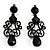 Black Gothic Bead Drop Earrings
