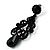 Black Gothic Bead Drop Earrings - view 3