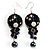 Boho Style Floral Bead Drop Earrings (Silver&Black)
