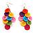 Multicoloured Plastic Button Drop Earrings (Silver Tone)