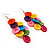 Multicoloured Plastic Button Drop Earrings (Silver Tone) - view 6