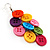 Multicoloured Plastic Button Drop Earrings (Silver Tone) - view 3