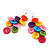 Multicoloured Plastic Button Drop Earrings (Silver Tone) - view 5