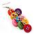 Multicoloured Plastic Button Drop Earrings (Silver Tone) - view 4