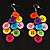 Multicoloured Plastic Button Drop Earrings (Silver Tone) - view 2