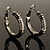 Rhodium Plated Twisted Crystal Hoop Earrings (25mm Diameter)