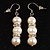 Ivory Freshwater Pearl Crystal Drop Earrings (Silver Tone)