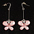 Pale Pink  Acrylic Crystal Butterfly Drop Earrings (Silver Tone)