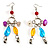 Long Multicoloured Semiprecious Bead Dangle Earrings (Silver Tone) - view 1
