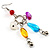 Long Multicoloured Semiprecious Bead Dangle Earrings (Silver Tone) - view 2
