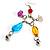 Long Multicoloured Semiprecious Bead Dangle Earrings (Silver Tone) - view 4