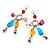Long Multicoloured Semiprecious Bead Dangle Earrings (Silver Tone) - view 5