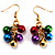 Gold-Tone Multicoloured Metal Bead Drop Earrings