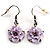 Pale Lilac Acrylic Floral Drop Earrings (Silver Tone)