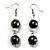 Black & White Bead Drop Earrings (Silver Tone)