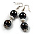 Black & White Bead Drop Earrings (Silver Tone) - view 5