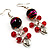 Red Glass Bead Drop Earrings (Silver Tone) - view 3