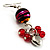 Red Glass Bead Drop Earrings (Silver Tone) - view 2