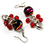 Red Glass Bead Drop Earrings (Silver Tone) - view 4