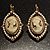 Vintage Cameo Imitation Pearl Drop Earrings (Burn Gold) - view 2