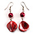 Coral Red Shell Bead Drop Earrings (Silver Tone) - view 1