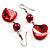 Coral Red Shell Bead Drop Earrings (Silver Tone) - view 2
